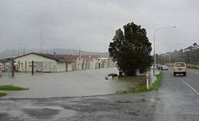 Storm surge at Kissing Point in Whangarei.