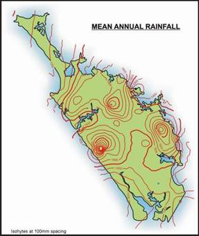 Map of Northland showing mean annual rainfall.