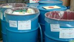 Drums containing hazardous waste.