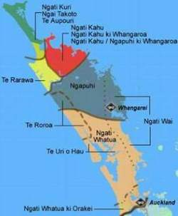 Map showing tribal boundaries for Northland iwi.