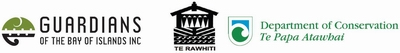 Guardians of the BOI, Te Rawhiti and Department of Conservation logos.