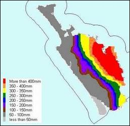 Map colour coded to show rainfall levels.