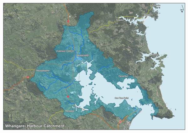 Map showing the Whangarei Harbour catchment area.