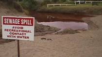 Photo of sewage spill warning sign.