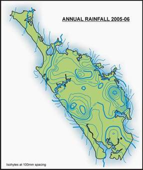 Map of Northland showing annual rainfall for 2005-2006.