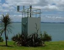 Tide gauge and rainfall equipment installed in the navigational aid building in the Kaipara Harbour at Pouto Point.
